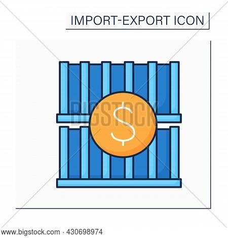 Container Color Icon. Large Metal Box. Box With Standard Design And Size Used For Goods Transportati