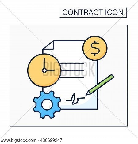 Service Contract Color Icon. Business Agreement Between Contractor And Customer. Maintenance, Servic