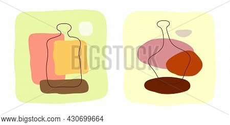 Rum And Brandy Bottle On Abstract Background. Hand Drawn Doodle Various Shapes, Spots. Contemporary