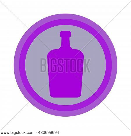 Bottle Of Liquor. Background Is Circle. Isolated Color Object Design Beverage. Graphic Illustration