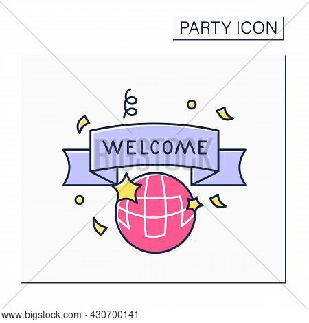 Welcome Party Color Icon. Celebrations For New Employers. Welcome Banner. Greetings. Celebrating Con