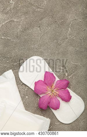 White Sanitary Pad, Hygiene Protection On A Grey Background. Gynecological Menstrual Cycle. A Rose F