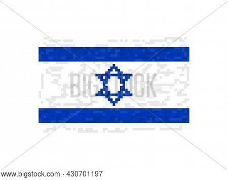 Israel Flag Pixel Art. 8-bit Israel Flag Sign. Design For A Festive Banner And Poster. Vector Illust