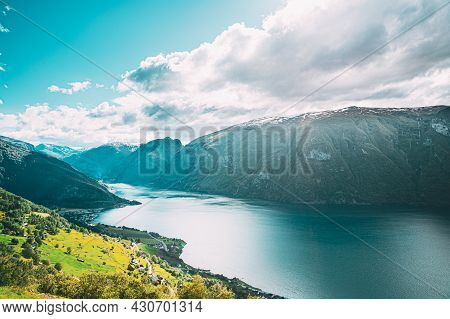 Aurland, Sogn And Fjordane Fjord, Norway. Amazing Summer Scenic View Of Sogn Og Fjordane. Famous Nor