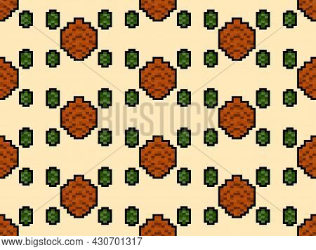 Fir-tree Cone Seamless Pattern In Pixel Art Style. 8 Bit Fir-tree Cone In 2d Retro Style. Design For