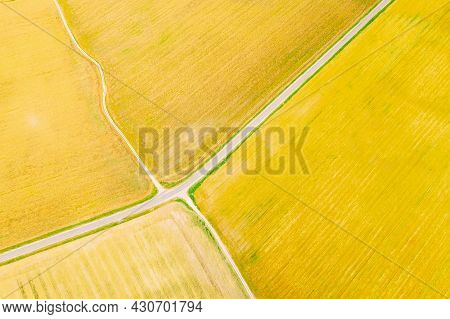 Multicolored Clusters Of Agricultural Fields Sown With Different Crops. Aerial View. Beginning Of Ag