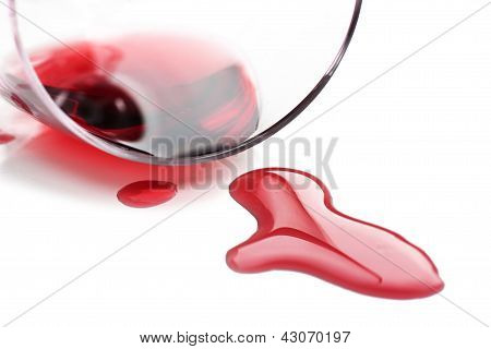 Red Wine Spilled From Glass