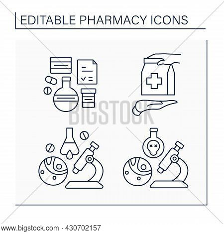 Pharmacy Line Icons Set. Dispensing Medical Drugs. Toxicology, Retail Purchase, Biopharmaceutical In