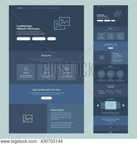 Website Wireframe Landing Page. Dark Design Template For Business. One Page Site Layout Interface. M