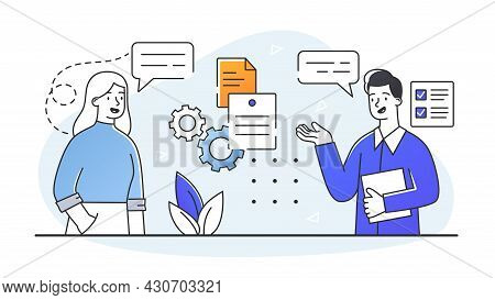 Employer Meeting Job. Assessment Of Potential Employees. Recruiting Team To Work On Project. Communi