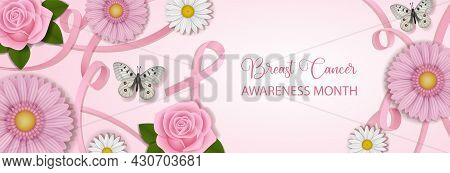 Breast Cancer Awareness Month Banner With Pink Ribbons And Flowers