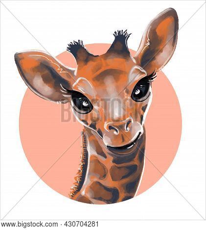 Portrait Of A Cute Watercolor Giraffe In A Circle. Illustration, Childrens Animal Print.
