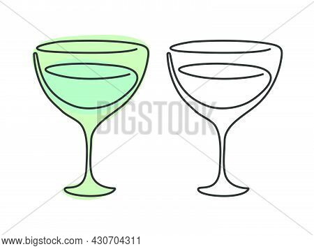 One Line Drawing Vermouth Glass On White Background. Two Kinds Colored Cartoon Graphic Sketch And Bl
