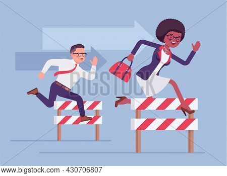 Business People Running Over Barrier, Try To Overcome Difficulties, Obstacles. Office Male And Femal
