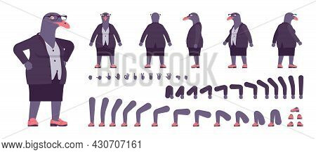 Bird Woman, Seagull Head Female Pigeon, Human Wear Construction Set. Plump Rounded Person, Clumsy Da