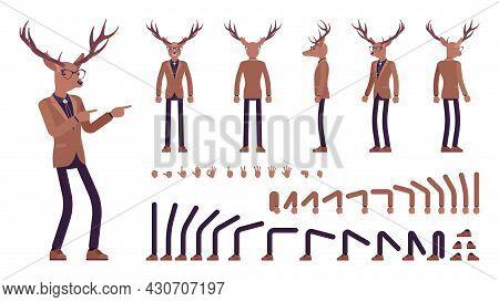 Deer Man, Elegant Mister Moose, Animal Head Human Construction Set. Dressed Up Gentleman Having Larg