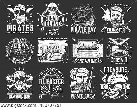 Caribbean Pirates And Corsair Icons. Treasure Hunt Adventure Monochrome Vector Emblems Set With Huma