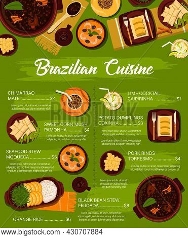 Brazilian Cuisine Vector Menu Template Sweet Corn Mush Pamonha, Potato Dumplings Coxinha And Chimarr