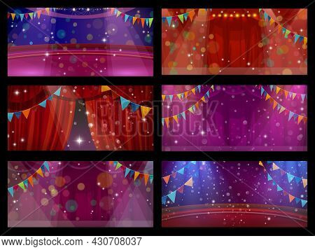 Circus And Theater Stage Interior With Curtains, Funfair Carnival Show. Circus Stage Or Theater Perf