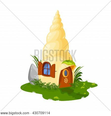 Fairy Shell House Or Dwelling Of Gnome Or Dwarf And Elf, Vector Cartoon Home Hut. Fairy Tale Seashel