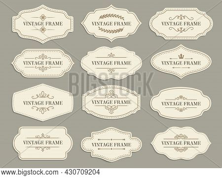Vintage Retro Borders And Frames, Vector Paper Labels With Flourishes For Scrapbooking Or Invitation