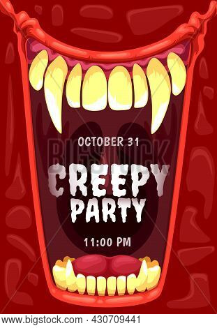 Halloween Horror Party Invitation With Vampire Mouth Vector Frame. Open Jaws Of Creepy Dracula Monst