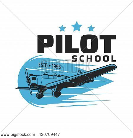 Pilot School Vector Icon With Vintage Plane Or Airplane Flying In Blue Sky. Pilot Flight Courses, Av