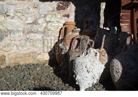 A fortress in Marmaris. At present - museum of archeological founds.  Antique Greek and Roman amphorae raised from the seabed. Marmaris, Turkey. August 4,2021