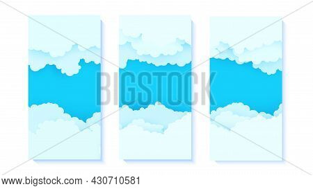 Set Of Flyers With Blue Sky And White Clouds Border In Paper Cut Style. Collection Of 3d Papercut We