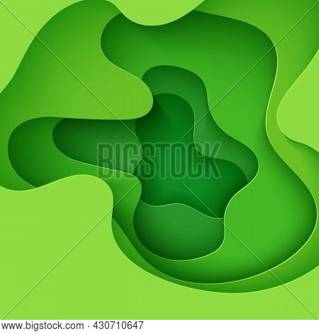 Abstract Green Background In Paper Cut Style. 3d Layout Wallpaper Cut Out From Cardboard. Modern Tem
