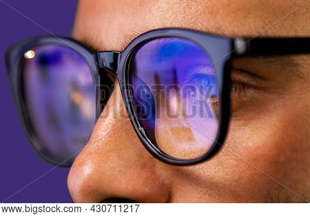 Close Up View Of Focused Businessman Reading, Watching, Working Online, Wears Computer Glasses For R