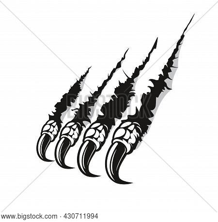 Dragon Claw Marks Scratches, Monster Fingers With Long Nails Tears Through Paper Or Wall Surface. Ve