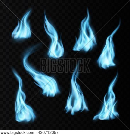 Gas Realistic Blue Fire Flames And Trails With Long Burning Tongues. Vector Natural Fossil Burning,