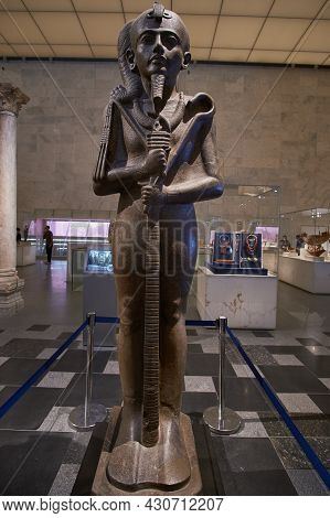 Cairo, Egypt- August 8 2021: Large Statue Of Khonsu ( The Ancient Egyptian God Of The Moon) At Egypt