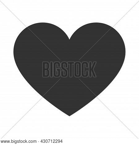 Heart Icon Isolated On White Background. Love And Valentine's Day Symbol. Simple Flat Gray Heart Sha