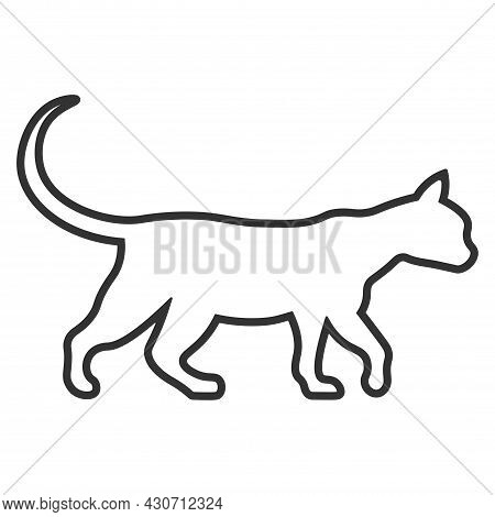 Silhouette, Walking Cat Icon Isolated On White Background. Linear, Vector Illustration. Pet, Pet And