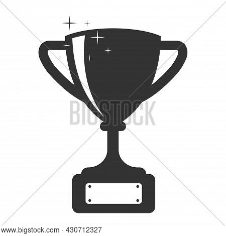 Trophy Cup Silhouette. Cup Icon Isolated On White Background. Victory, Award And Gift Symbol.
