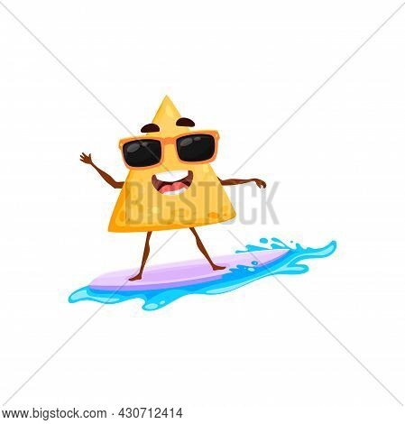 Cartoon Mexican Nachos Chips On Summer Beach And Vacation Surfing On Surfboard On Water Waves Isolat