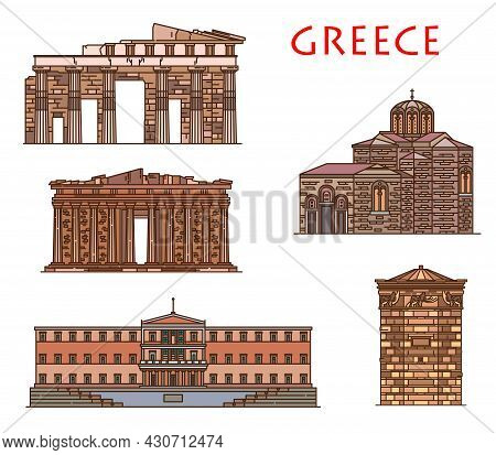Greece Architecture And Athens Buildings, Vector Greek Travel Landmarks. Greece Antique Parthenon, P