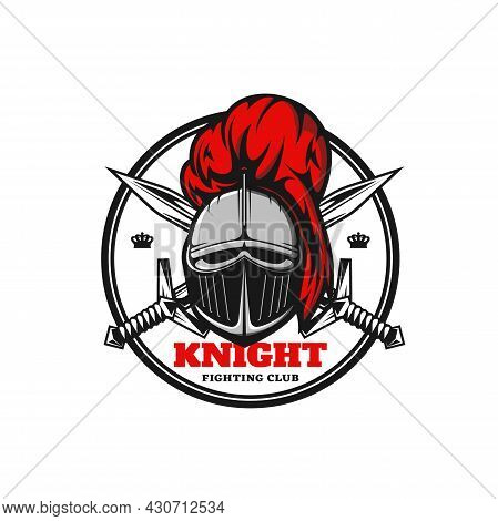 Medieval Knight Icon, Vector Emblem With Warrior Helmet And Crossed Swords. Heraldic Royal Paladin W