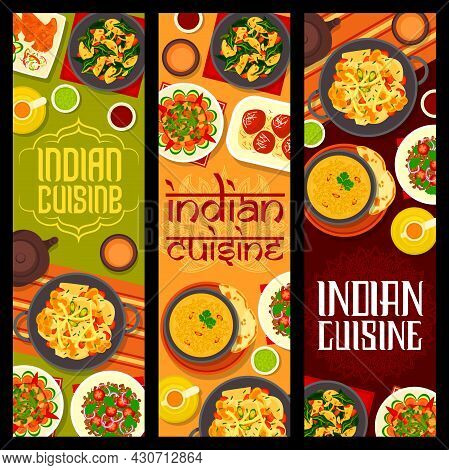 Indian Cuisine Vector Banners With Food, Vegetable Dishes And Milk Dessert. Potato Spinach Curry, So