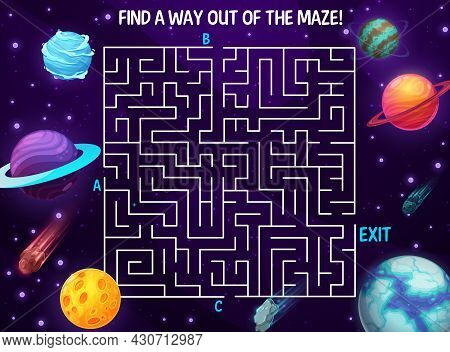 Space Labyrinth Maze, Cartoon Galaxy. Kids Vector Boardgame With Planets And Meteors In Deep Cosmos.