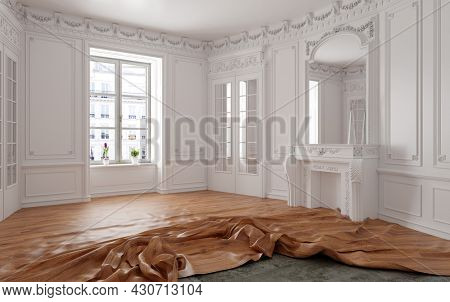 crumpled parquet  folds, laying on the floor. 3d rendering creative concept