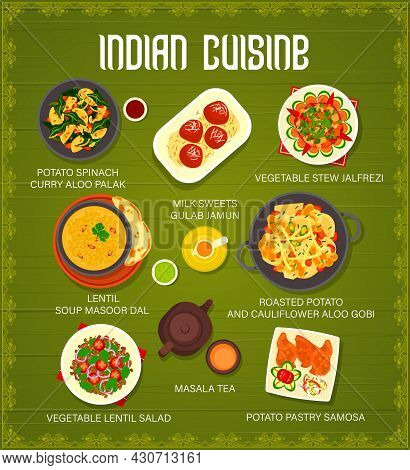 Indian Cuisine Food Menu With Vector Dishes Of Vegetable Curry And Stew, Lentil Soup And Salad. Pota