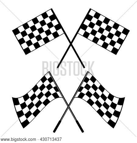 Crossed Black And White Checkered Flags Logo Conceptual Of Motor Sport, Isolated On White