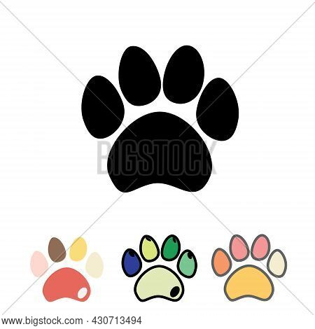 Cats Or Dogs Paws Set. Cats And Dogs Paw Icon.