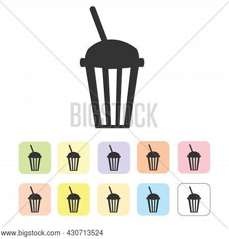 Silhouette Of Coffee And Tea Cups Isolated On White
