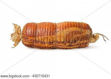 Close-up of Appetizing smoked pork neck ?isolated on a white backgroun