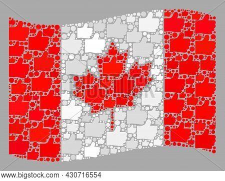 Mosaic Waving Canada Flag Created With Like Icons. Vector Election Mosaic Waving Canada Flag Created