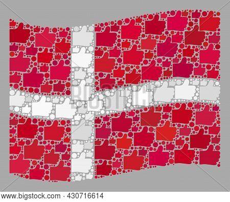 Mosaic Waving Denmark Flag Created Of Like Items. Vector Positive Mosaic Waving Denmark Flag Designe